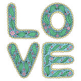 Romantic love lettering in style of hippie with flower patterns