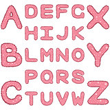 Romantic alphabet in girlish style with ruches and spots