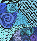 Colorful abstract background with doodling hand drawn patterns