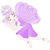 Cute fairy in violet dress with wings is sleeping on pillow