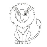 Cute cartoon lion with fluffy mane and kind muzzle, coloring book