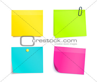 Four Colorful Sticky Notes. Blank sheets