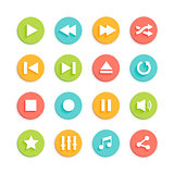 Media Player Material Design Vector Icons Set