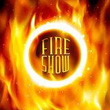 Ring of fire. Vector fiery circle on poster for the circus.