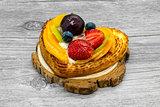 Fruit cake in heart shape