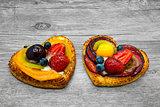 Fruit cakes in heart shape
