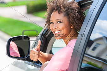 African American Girl Woman Thumbs Up Driving Car