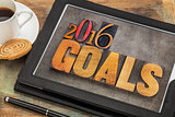 2016 goals on digital tablet