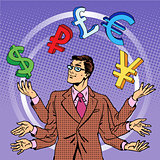businessman juggling money business concept