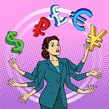 businesswoman juggling money business concept