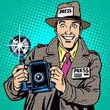 Photographer paparazzi at work press media camera. The reporter