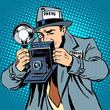 Photographer paparazzi at work press media camera