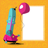 happy blue cartoon character with balloon and poster for text