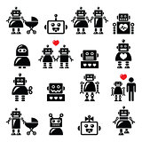 Robot family, female, baby robot icons set