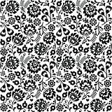 Seamless Polish folk art black floral pattern - wzory lowickie, wycinanki
