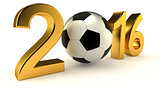 Year 2016 with soccer ball