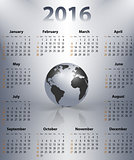 English business calendar for 2016 year