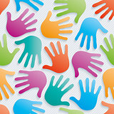 Multicolor handprints 3d seamless wallpaper.