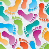 Multicolor Footprints 3d seamless wallpaper.