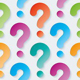 Multicolor question marks wallpaper.