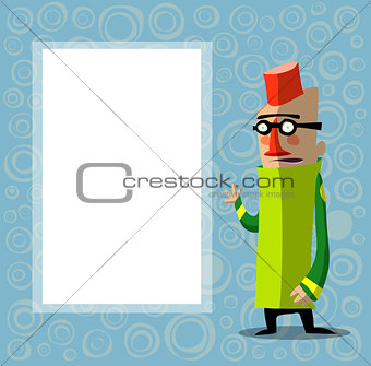 character with glasses and fez in front of poster for text