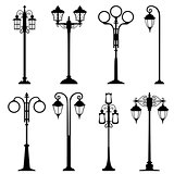 City street lanterns set