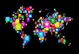 World Map made of Flying Desktop Icons