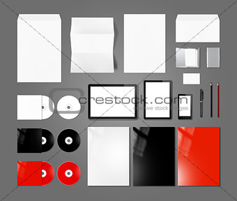 Branding identity design mockup template, dark grey background
