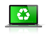 Laptop with a recycling symbol on screen. environmental conserva