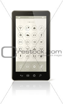 Smart phone with icons interface