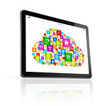 Cloud computing symbol on Digital Tablet pc