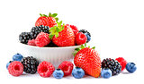 Big Pile of Fresh Berries in Bowl on the White Background
