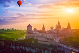 Castle in Kamianets-Podilskyi and  air balloon