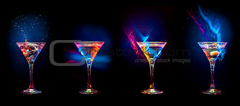 Bright  cocktails in glasses