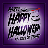Vintage Happy Halloween Typographical purple Background With Pumpkins and knife