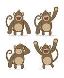 Vector set of monkeys with different emotions
