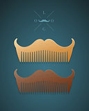 Vector illustration of stylish comb in shape of mustaches
