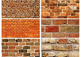 Set of banners with textures of brick walls