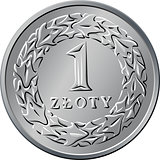 reverse Polish Money one zloty coin
