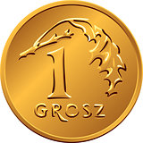 reverse Polish Money one Grosz copper coin