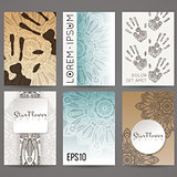 Set of vector design templates. Brochures in random colorful style. Vintage frames and backgrounds. Flower, mandala design.