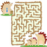 Raster illustration of the stone labyrinth and a family of hedgehogs