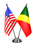 USA and Republic Congo - Miniature Flags.