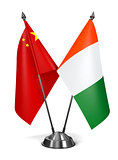 China and Ivory Coast  - Miniature Flags.