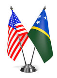 USA and Solomon Islands - Miniature Flags.