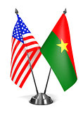 USA and Burkina Faso - Miniature Flags.