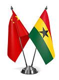 China and Ghana - Miniature Flags.