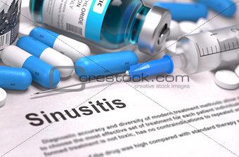 Sinusitis Diagnosis. Medical Concept. Composition of Medicaments.