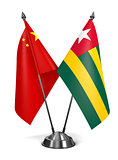 China and Togo - Miniature Flags.