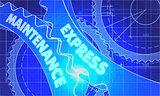 Express Maintenance Concept. Blueprint of Gears.